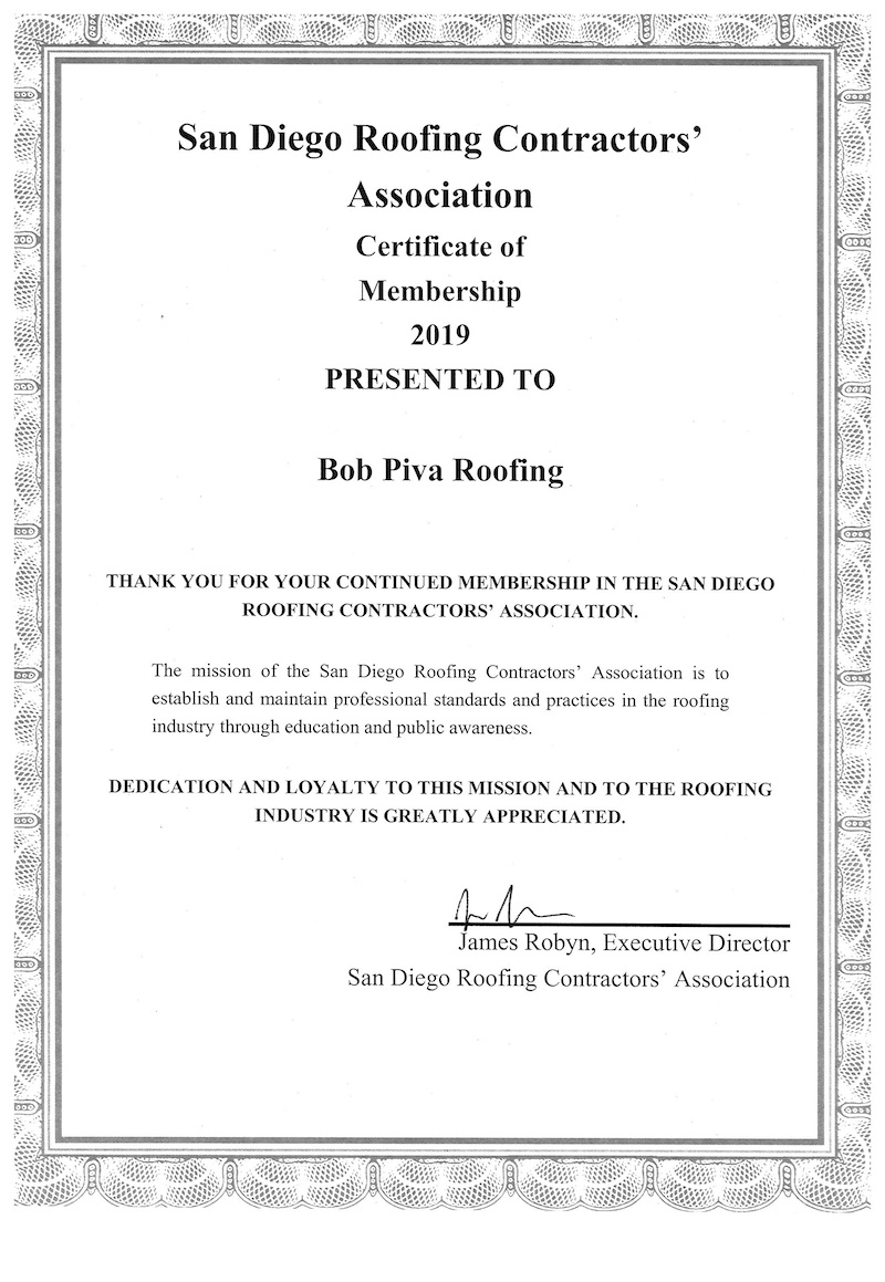 San Diego Roofing Contractors Association Membership